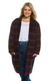 "Ulla Popken Plaid Shawl Collar Two Button Wool Feel Long Coat"" plus size,  plus size fashion plus size appare"