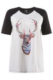 Jämlitz-Klein Düben Angebote T-Shirt, Classic, Hirschmotiv, Strickoptik, V-Ausschnitt - Große Größen