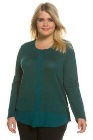 Pullover, Chiffondetails, weite Schultern, Feinstrick - Große Größen