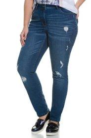 Ulla Popken Skinny-Jeans, Destroy-Look, 5-Pocket-Modell, Stretchdenim - Große Größen