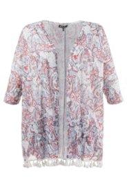 Shirt-Kimono, 3/4 Ärmel, Quasten, Leinenoptik-Jersey, Alloverdruck - Große Größen Sale Angebote Hornow-Wadelsdorf
