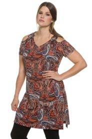 Ulla Popken Shirt, Longform, Paisleymuster, V-Ausschnitt, Zierriegel, schulterfrei, Halbarm, Seitenschlitze, elastischer Jersey - Große Größen
