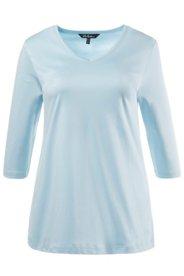 Ulla Popken Shirt, V-Ausschnitt, Classic, Pima-Baumwolle, 3/4-Arm - Große Größen