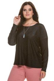 Ulla Popken Shirt, Webeinsatz, oversized, elastischer Glitzerjersey - Große Größen