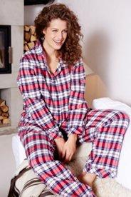 Schlafanzug, Karomuster, superweicher Flanell - Große Größen Sale Angebote Cottbus