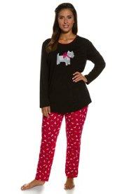 Ulla Popken Pyjama, Scotty-Motiv, reine Baumwolle - Große Größen