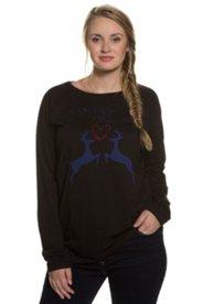 Ruhland Angebote Sweatshirt, Rentiermotiv, Ziersteine, U-Boot-Ausschnitt - Große Größen