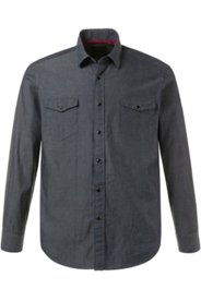 Ulla Popken Hemd, Minimal-Muster, Kentkragen, 2 Brust-Pockets, Langarm, Modern Fit, Baumwolle, große Größen - Große Größen