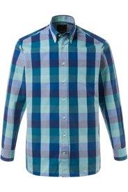 Ulla Popken Karo-Hemd, Buttondown-Kragen, Manschetten innen aus Oxford-Web, Comfort Fit, große Größen - Große Größen