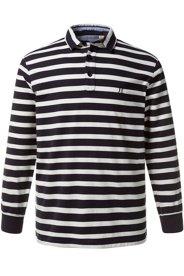 Ulla Popken Poloshirt, Langarm, Streifenmuster, Innenkragen aus Gewebe, elastische Bündchen, große Größen - Große Größen