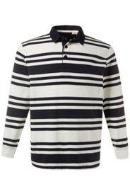 Ulla Popken Rugby-Sweater, geringelt, Web-Kragen, Saumschlitze, Baumwolle, große Größen - Große Größen