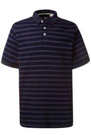 Ulla Popken Poloshirt, Shirt, Streifen, Kragen einfarbig, Seitenschlitze, Jersey, große Größen - Große Größen
