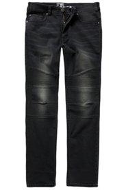 Ulla Popken Jeans, Biker-Jeans, Superstretch-Denim, 5-Pocket, Stepp-Knie, Straight Fit, große Größen - Große Größen