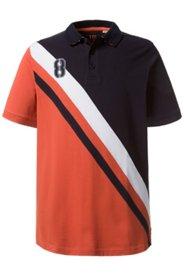 Ulla Popken Poloshirt, diagonal gestreift, Brust-Badge, uni Rücken. gestreifter Unterkragen, Piqué-Jersey, große Größen - Große Größen