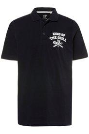 Ulla Popken Poloshirt, KING OF GRILL, Piqué-Jersey, Polokragen, kurze Ärmel, große Größen - Große Größen