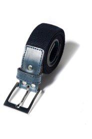 Ulla Popken Stoffband-Gürtel, elastisch mit Leder-Details, Metallschnalle - Große Größen