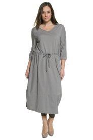 Kleid, Streifen, Tulpen-Form, Tunnelzug, Biobaumwolle - Große Größen
