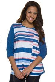 Großkmehlen Angebote Shirt, Streifen, Classic, Ziersteine, 3/4-Arm - Große Größen