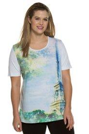 Ulla Popken T-Shirt, Motiv Eiffelturm, Classic, Ziersteine, Stretchkomfort - Große Größen