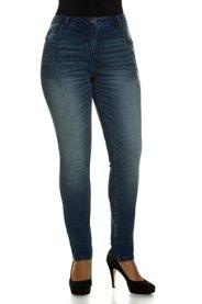 Curvy-Jeans, Used-Optik, 5-Pocket-Form, Ziernähte - Große Größen