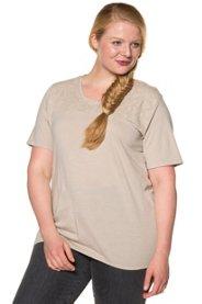 Ulla Popken T-Shirt, Blütenstickerei, elastischer Saum, reine Baumwolle - Große Größen