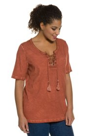 Ulla Popken T-Shirt, Schnürung, Classic, Quasten, cool dyed - Große Größen