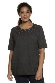 Ulla Popken T-Shirt, Ziernieten, Classic, oil dyed, offenkantiger Ausschnitt - Große Größen