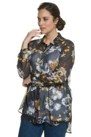 Bluse, Rosenmuster, hinten verlängert, leicht transparent - Große Größen