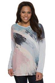 Shirt, Strass, Oversized, Saum mit Gummizug - Große Größen