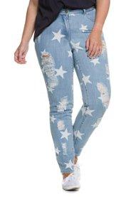 Ulla Popken Jeans, Skinny, 5-Pocket, Gürtelschlaufen, Destroy, Sterne - Große Größen