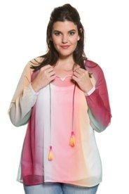 Chiffonbluse, Regenbogen-Optik, transparent, Bindeband mit Quasten - Große Größen Sale Angebote Ruhland