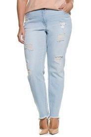 Boyfriend-Jeans, Destroy-Effekte, 5-Pocket-Form, offener Fransensaum - Große Größen Sale Angebote Lindenau