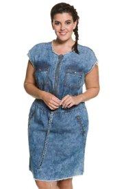 Ulla Popken Jeanskleid, Fransenlook, Taillen-Bindeband, Reißverschluss - Große Größen