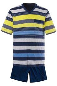 Ulla Popken Schlafanzug, Pyjama, Zweiteiler, Oberteil geringelt, Halbarm, kurze Hose, Rundum-Gummibund, Jersey, große Größen - Große Größen