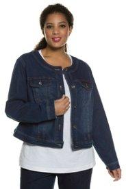 Jeansjacke, lange Ärmel mit Manschetten, verstellbarer Saum, Metallknöpfe - Große Größen