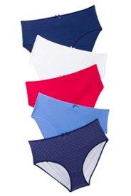 Ulla Popken Slips, 5er-Pack, rot / blau / weiß - Große Größen