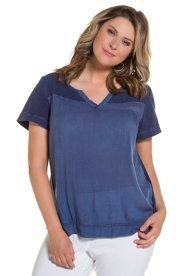 Bluse, Netzeinsatz, Keilausschnitt, cold dyed, Aussparung hinten - Große Größen