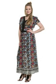 Ulla Popken Kleid, lang, halbarm weit geschnitten, V-Ausschnitt, Spitze, Bättermuster - Große Größen