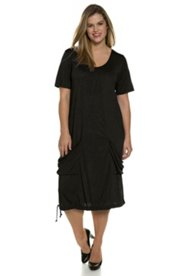 Ulla Popken Kleid, mit Taschen, halbarm, knöchellang, Rundhalsausschnitt, Saum-Bindeband, Jersey - Große Größen