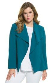 Jacke, großer Klappkragen, offene Form, Triacetat-Qualität - Große Größen Sale Angebote Groß Luja