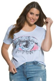 Ulla Popken T-Shirt, Augenmotiv, Oversized, offenkantiger Saum - Große Größen