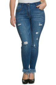 Skinny-Jeans, Destroy-Effekte, Fransensaum, Stretchdenim - Große Größen Sale Angebote Lindenau