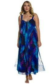 Kleid, Animalmuster, drapierte Büste, Ziersteine, mehrlagiger Chiffon - Große Größen