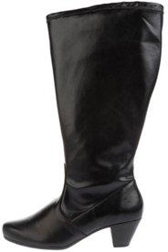 Ulla Popken Stiefel, elastischer Ledermix, Trichterabsatz, Weite H - Große Größen