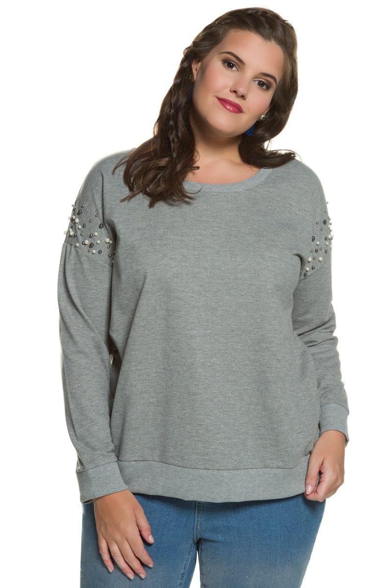 Sweatshirt, Zierperlen, Rippbündchen, Elasthan - Große Größen jetztbilligerkaufen