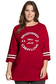 Longsweater, Schriftmotiv, 3/4-Arm, reine Baumwolle