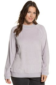 Sweatshirt, samtweicher Nicki, Stehkragen, Raglanärmel - Große Größen Sale Angebote Cottbus