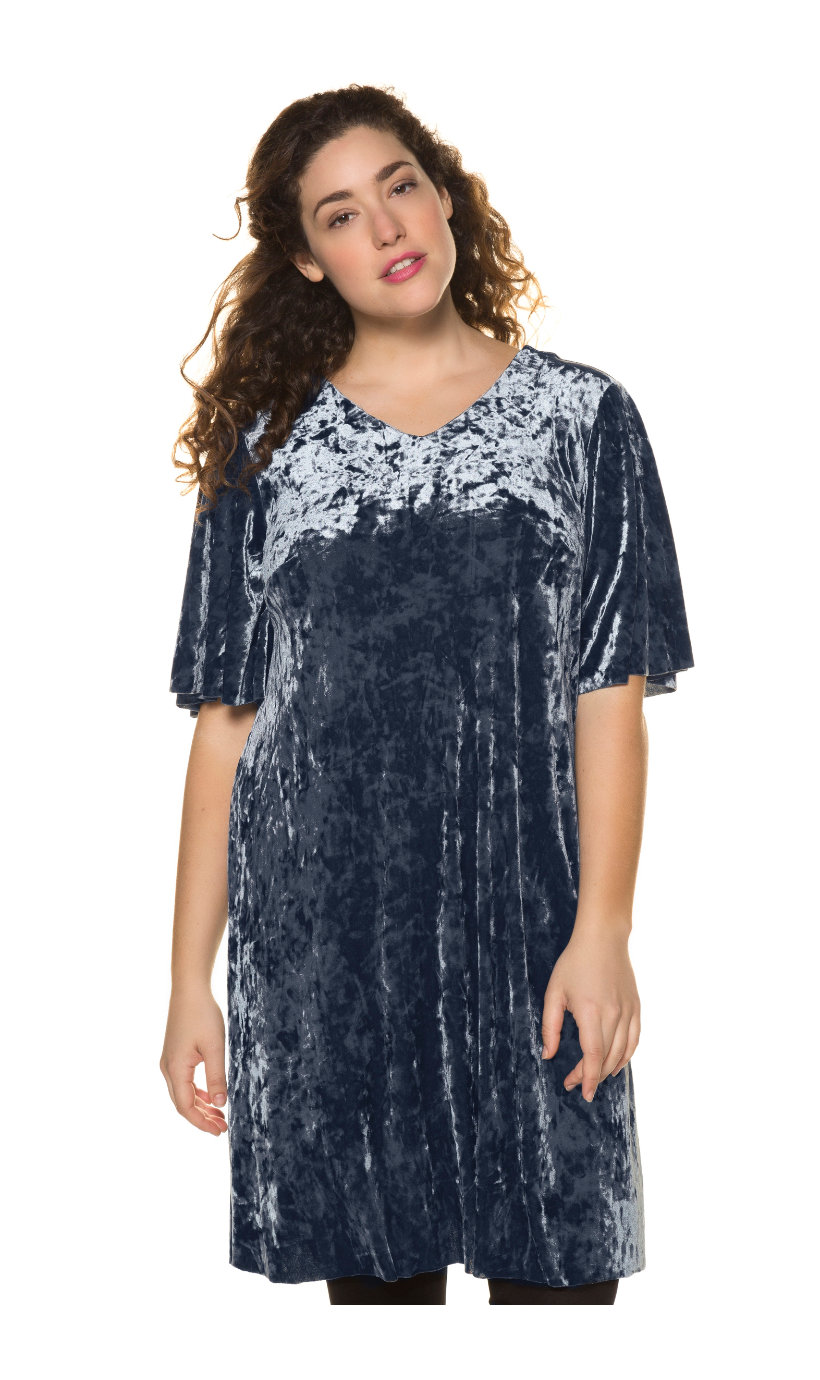 Ulla Popken pannefluwelen jurk - grote maten lichtgrijs-blauw