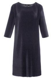 Ulla Popken Plissee-Kleid, U-Boot-Ausschnitt, 3/4-Arm - Große Größen