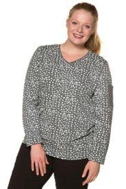 Ulla Popken Sweater, Muster, V-Ausschnitt, Biobaumwolle - Große Größen